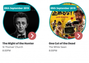 Composite image of thumbnails for Night of the Hunter and One Cut of the Dead shown at the Charlton and Woolwich Free Film Festival on Monday 9th September 2019